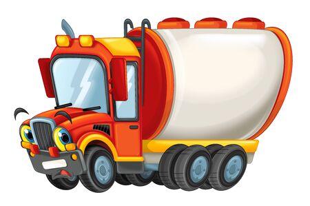 cartoon heureux camion citerne triste ou surpris isolé sur fond blanc - illustration pour les enfants