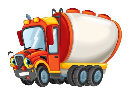 cartoon happy cistern truck sad or surprised isolated on white background - illustration for children
