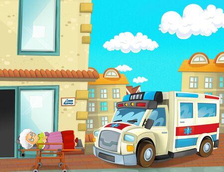 cartoon scene with emergency unit ambulance near the hospital - illustration for children