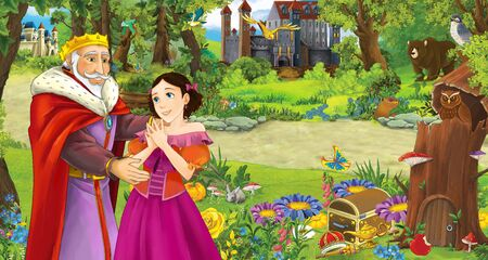 cartoon scene with happy family princess and king or prince the forest encountering pair of owls flying - illustration for children