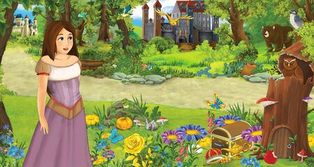 cartoon scene with young girl princess in the forest near some castles in the forest - illustration for children