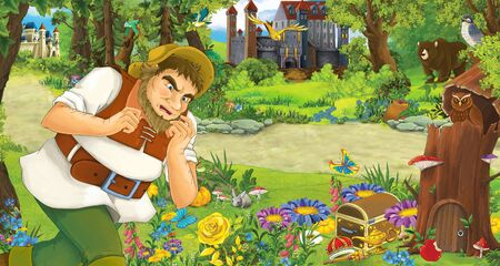 cartoon scene with older man farmer or hunter in the forest encountering two castles - illustration for children