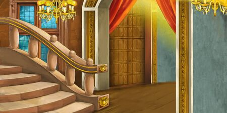 cartoon scene with medieval castle room - interior for different usage - illustration for children