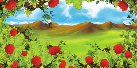 cartoon scene with meadow or valley and mountains in the background and bush of roses - illustration for children Zdjęcie Seryjne - 130149654