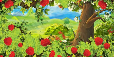 cartoon summer scene with path in the forest or garden and bush of roses - nobody on scene - illustration for children