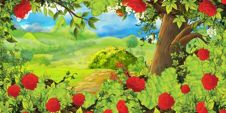 cartoon summer scene with path in the forest or garden and bush of roses - nobody on scene - illustration for children Zdjęcie Seryjne - 130149655