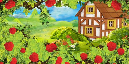 cartoon summer scene with path in the forest or garden old farm house and bush of roses - nobody on scene - illustration for children Zdjęcie Seryjne - 130149656