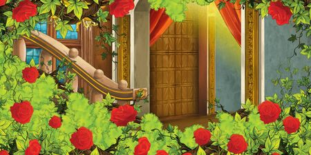cartoon scene with medieval castle room and bush of roses - interior for different usage - illustration for children Фото со стока - 130149658