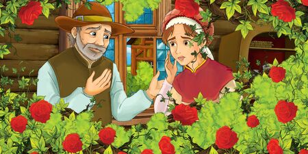 Cartoon medieval scene of man and woman in the kitchen and bush of roses - illustration for the children Foto de archivo - 130149659