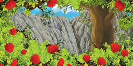 cartoon scene with mountain valley near the forest and bush of roses with nobody on the stage - illustration for children 写真素材