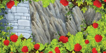 Cartoon scene with medieval tower and bush of roses - illustration for children 写真素材