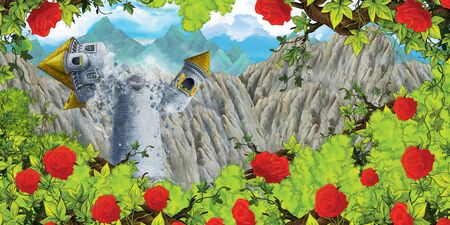Cartoon scene of collapsing medieval tower and bush of roses - illustration for children 写真素材