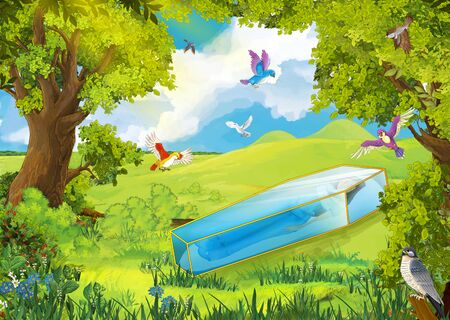cartoon summer scene with path in the forest and girl in glass box - illustration for children