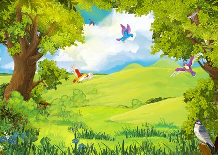 cartoon summer scene with path in the forest - nobody on scene - illustration for children Zdjęcie Seryjne - 130149667