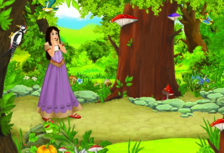 cartoon summer scene with path in the forest and young princess - illustration for children