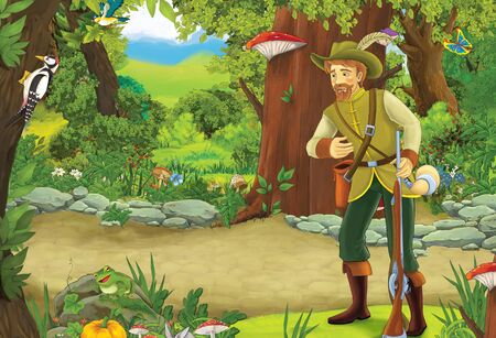 cartoon summer scene with path in the forest and young prince or hunter - illustration for children