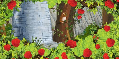 cartoon summer scene with path in the forest with castle tower and owl - nobody on scene - illustration for children