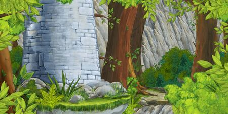 cartoon summer scene with path in the forest and castle tower - nobody on scene - illustration for children Banco de Imagens