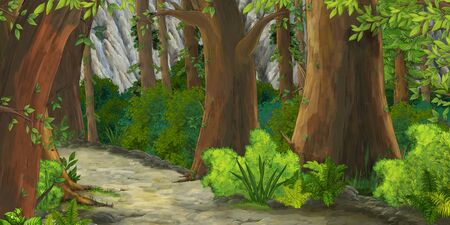 cartoon summer scene with path in the forest - nobody on scene - illustration for children