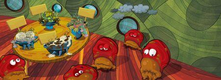 aliens in the house cooking ufo for kids - illustration for children Banco de Imagens