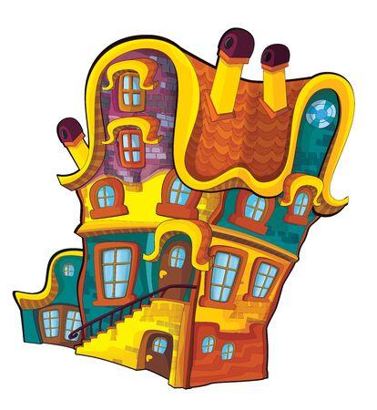 Cartoon illustration of house - block of flats - isolated on white background - illustration for children