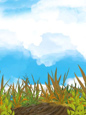 cartoon summer scene with meadow and sky - nobody on scene - illustration for children
