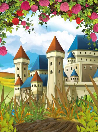 cartoon summer scene castle on the meadow with roses - nobody on scene - illustration for children