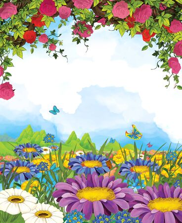 cartoon summer scene with meadow and sky and roses - nobody on scene - illustration for children