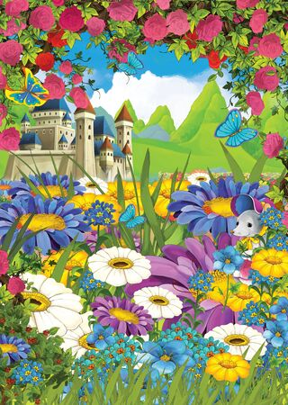 cartoon summer scene castle on the meadow with roses with mouse in the flowers - illustration for children