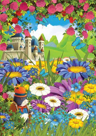 cartoon summer scene castle on the meadow with roses with mole in the flowers - illustration for children