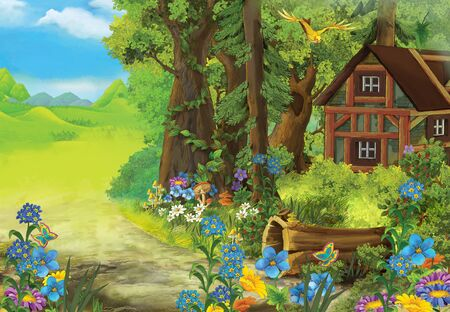 cartoon summer scene with meadow in the forest and hidden wooden house illustration for children Banco de Imagens