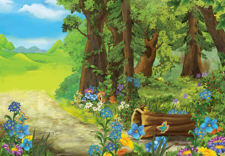 cartoon summer scene with meadow in the forest illustration for children Banco de Imagens
