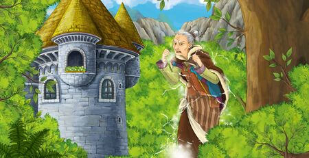 cartoon scene with mountains valley near the forest and castle and older woman like a witch illustration for children Фото со стока