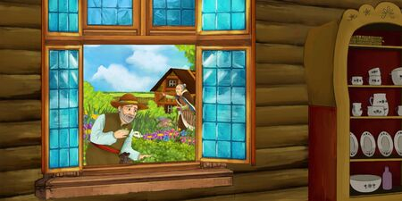 cartoon scene with medieval wooden house room - entrance to kitchen - interior for different usage - illustration for children
