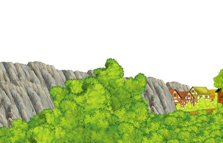 cartoon scene with mountains valley near the forest with wooden house with white background space for text illustration for children Imagens