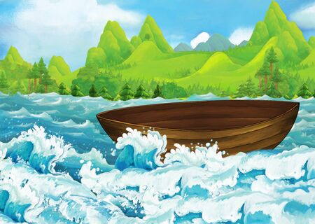 cartoon scene of beautiful shore or beach by the ocean or sea near some forest with empty fisherman boat floating - illustration for children