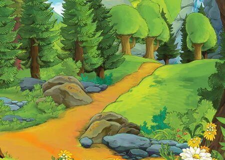 cartoon summer scene with meadow valley - nobody on scene - illustration for children 写真素材