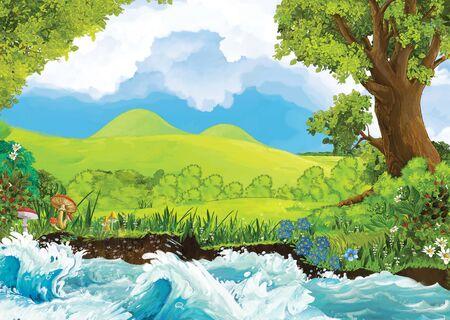 cartoon scene of beautiful shore or beach by the ocean sea or lake - illustration for children Stock fotó