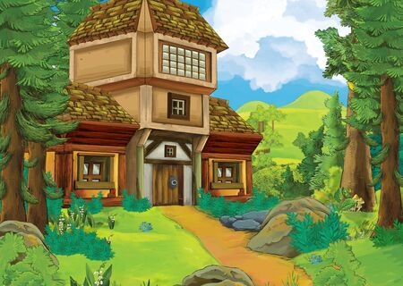 cartoon summer scene with path to the farm village - nobody on the scene - illustration for children