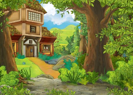 cartoon scene with mountains and valley with farm house and garden near the forest illustration for children