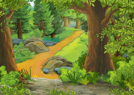 cartoon scene with mountains and valley with farm house hidden in the forest illustration for children