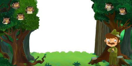 cartoon scene with forest and animals with white background for text illustration for children 스톡 콘텐츠