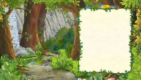 cartoon scene with mountains valley near the forest with frame for text illustration for children