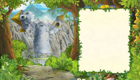 Cartoon nature scene with castle tower in the forest with frame for text - illustration for the children