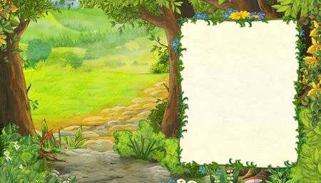cartoon summer scene with meadow in the forest with frame for text illustration for children