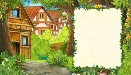 cartoon summer scene with path to the farm village with frame for text - nobody on the scene - illustration for children 스톡 콘텐츠
