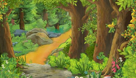 cartoon summer scene with meadow in the forest illustration for children 스톡 콘텐츠