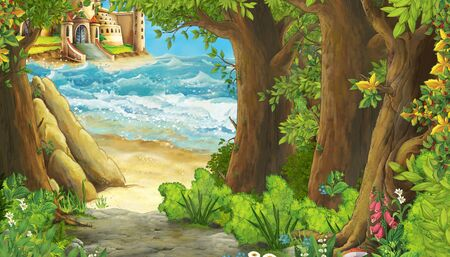 cartoon scene of beautiful castle by the beach and ocean or sea - illustration for children