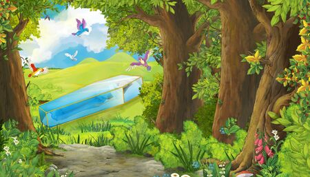 cartoon summer scene with meadow in the forest with birds flying with glass box illustration for children Archivio Fotografico - 131229953