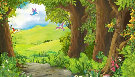 cartoon summer scene with meadow in the forest with birds flying illustration for children